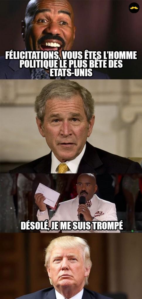 Avec quoi joue-t-on de la Trumpette? Avec la Bush. - meme