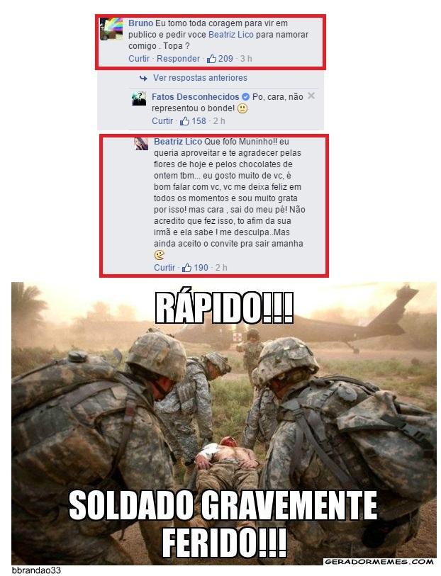 Soldado ferido aehuhuahae - meme