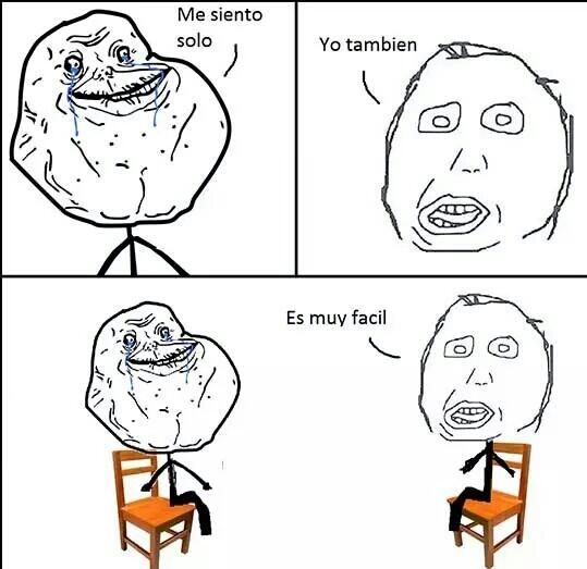 sentarse solo es facil xd - meme