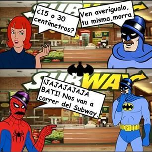 ese batman es un loquillo en el subway - meme