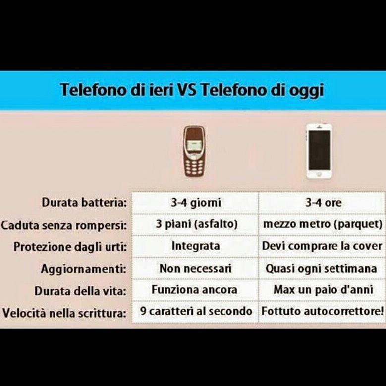 Telefoni di ieri VS telefoni di oggi - meme