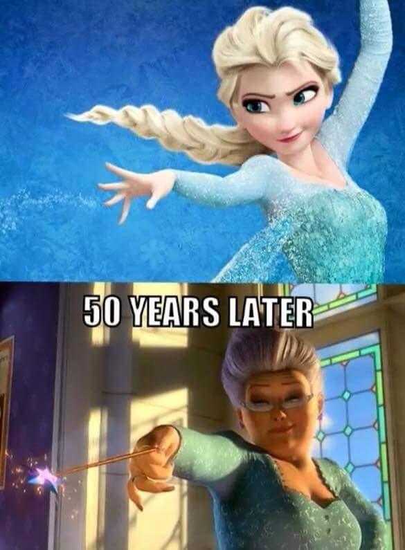 Elsa después de 50 años  - meme