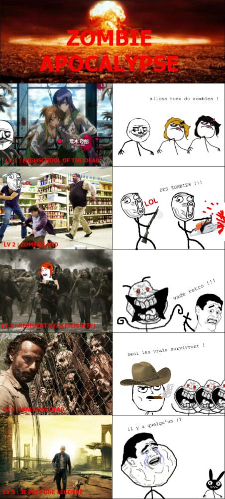 zombie apocalypse !!! quel est votre lv ? vote dans les com ! - meme