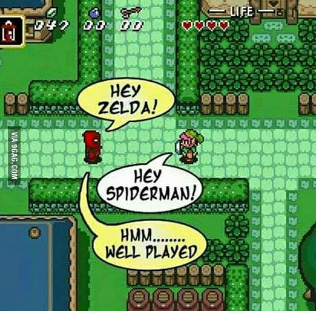 Zelda e Homem-Aranha - meme