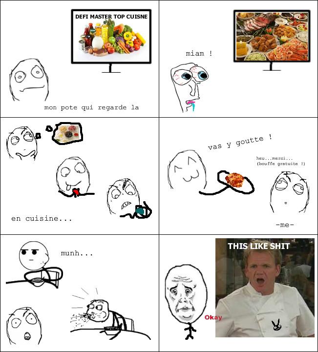 ma bouffe : pizza / tacos / pâtes / steak / et..heu...le autres truc vert dans les magasin.. - meme