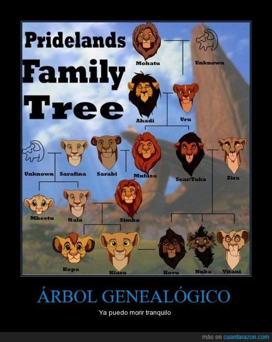 el árbol genealógico del rey leon - meme