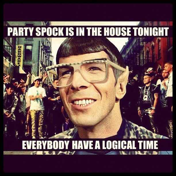 Spock knows a good party apparently - meme