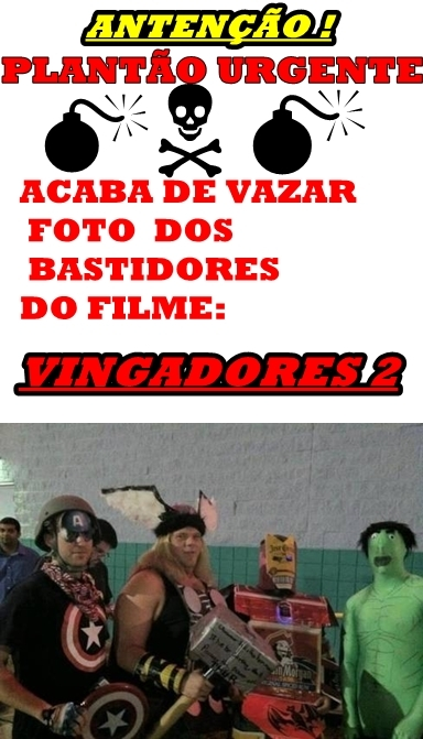 VAZA FOTO OFICIAL DO FILME AVENGERS 2 - meme