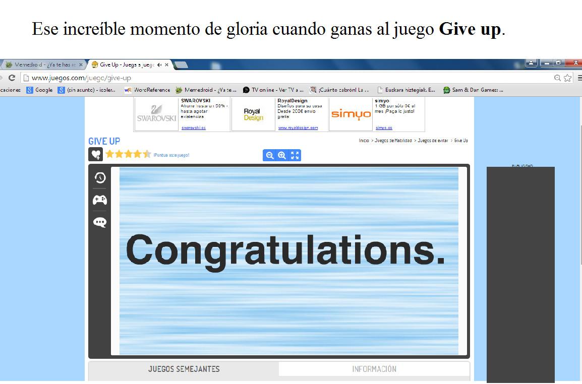 En Give up se puede ganar - meme