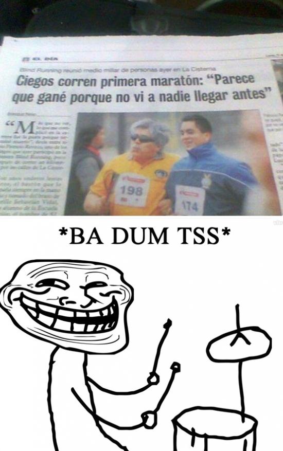¿Un ciego en un maratón? - meme