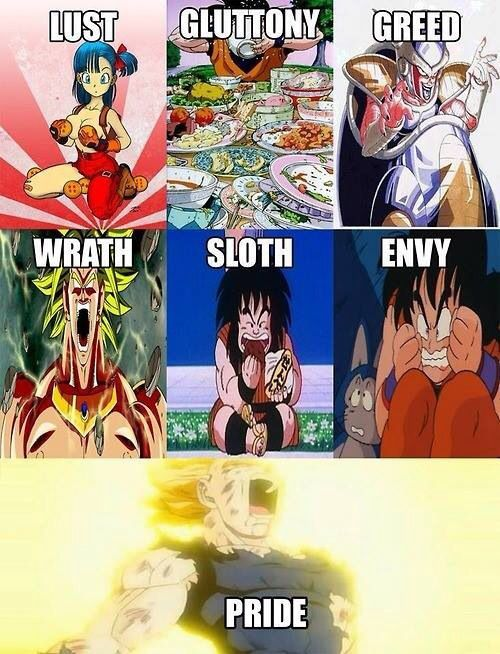7 Deadly Dragon Ball Sins - meme