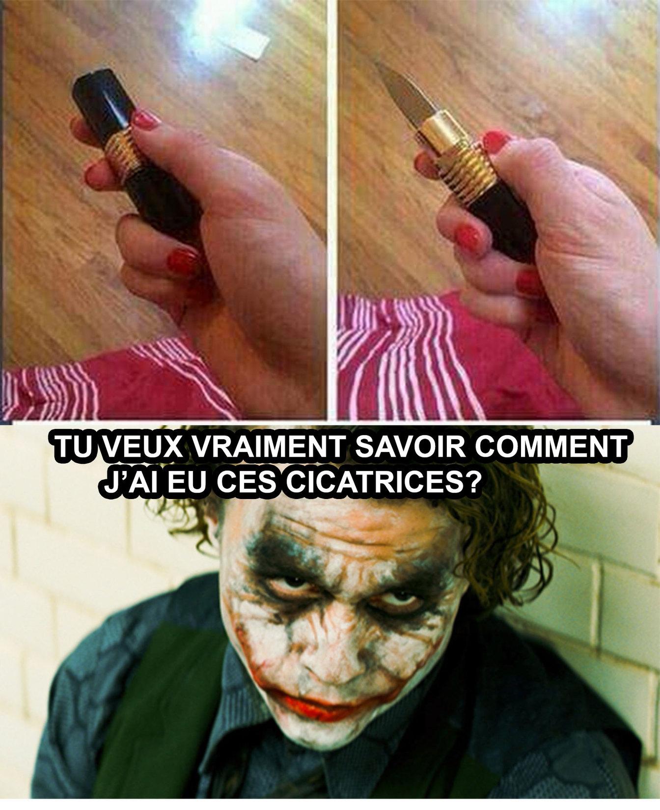 Rouge à lèvres couteau - meme