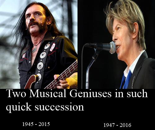R.I.P Lemmy Killmister, R.I.P David Bowie - meme