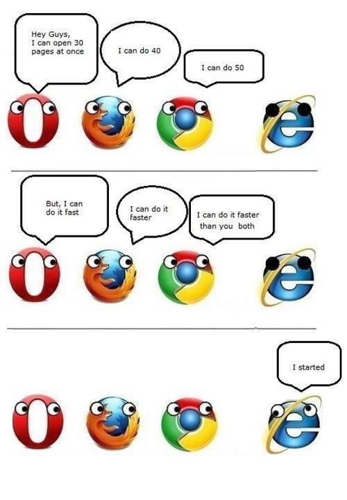 Image result for internet browsers joke explorer chrome firefox opera picture