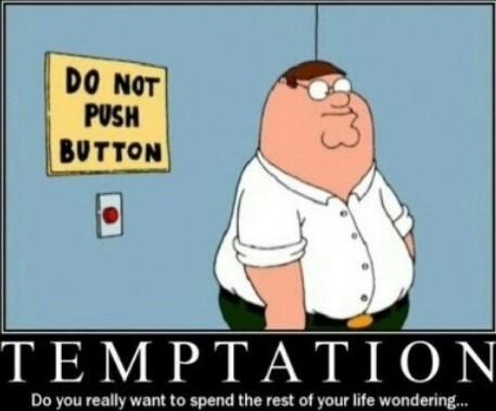 Don't fudgy press the button - meme