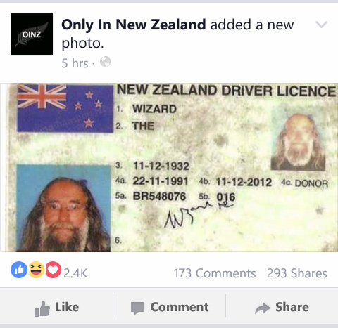 New Zealand has officially got a guy named The Wizard living in it!! - meme