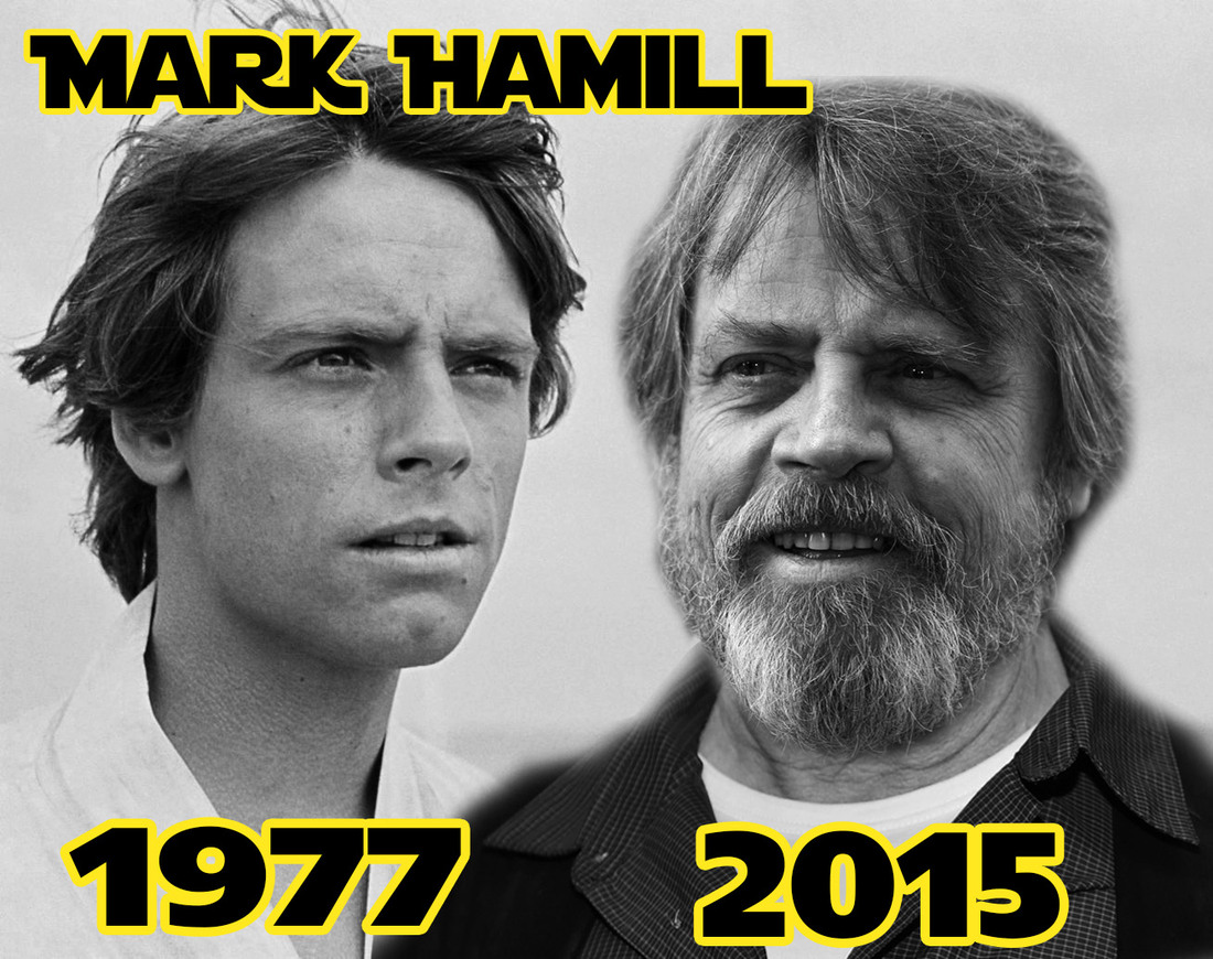 Mark Hamill 1977 and 2015 - meme