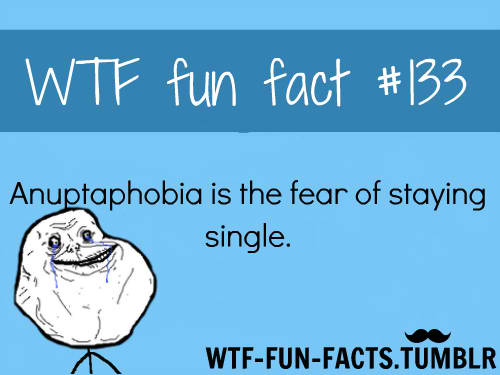 anuptaphobia fear of staying single The american psychological association officially recognizes only 100 phobias, but there are actually more than 500 of them in existence anuptaphobia just happens to be one of them.