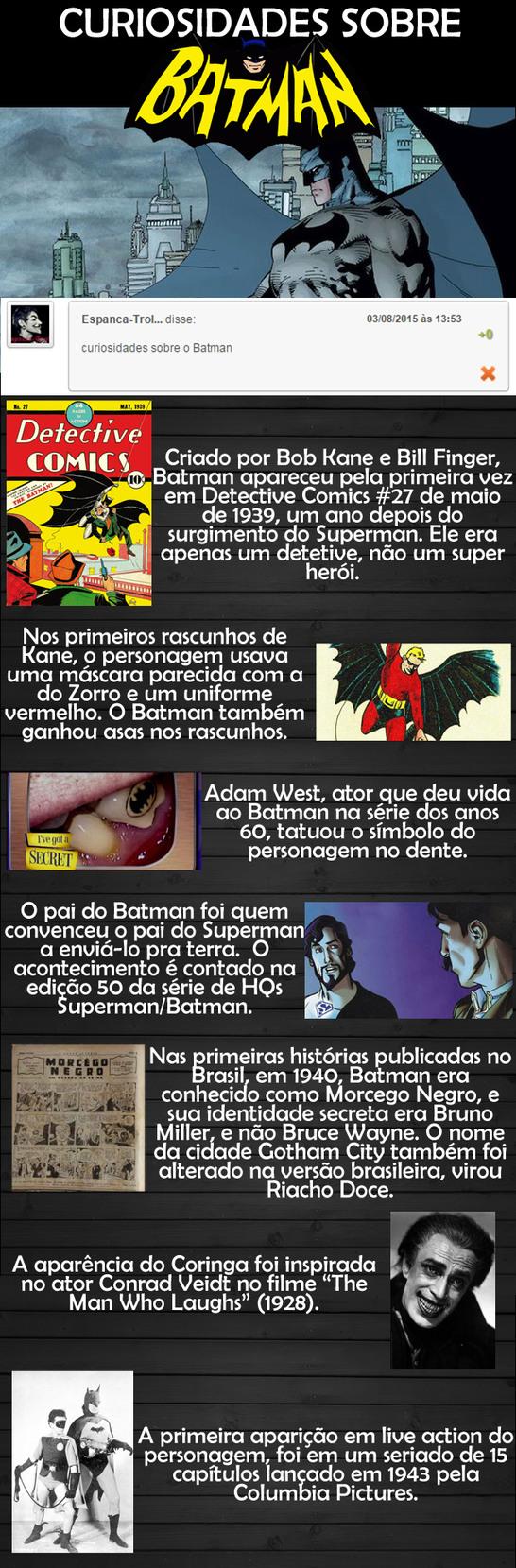 Curiosidades sobre o Batman - meme