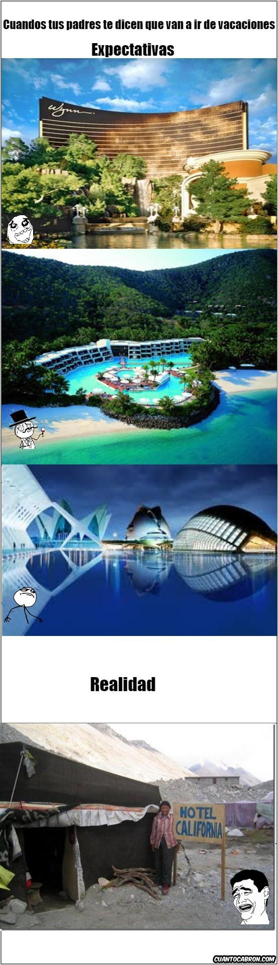 Salir de vacaciones y alquilar un hotel Expectativas-Realidad - meme