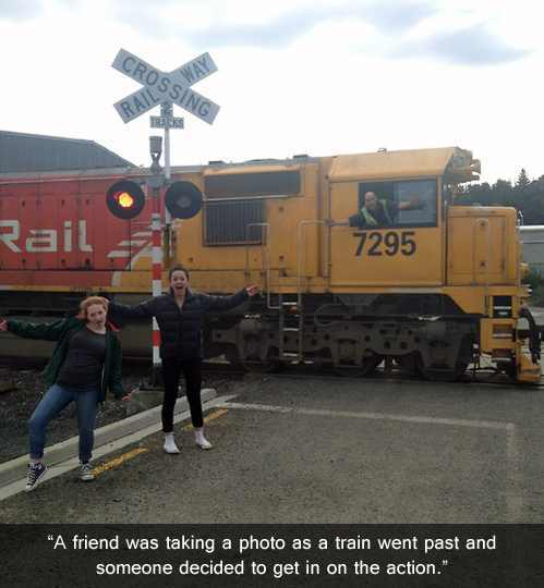 Photobomb level: Train conductor - meme