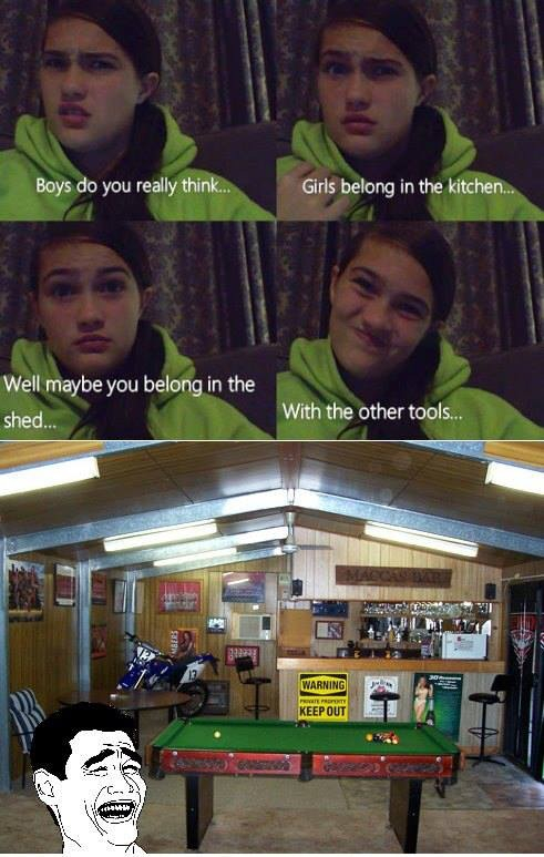 I'd rather be in the shed! - meme