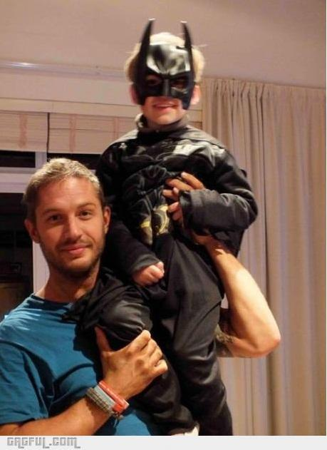 Tom Hardy(Bane) and his son dressed as Batman - meme