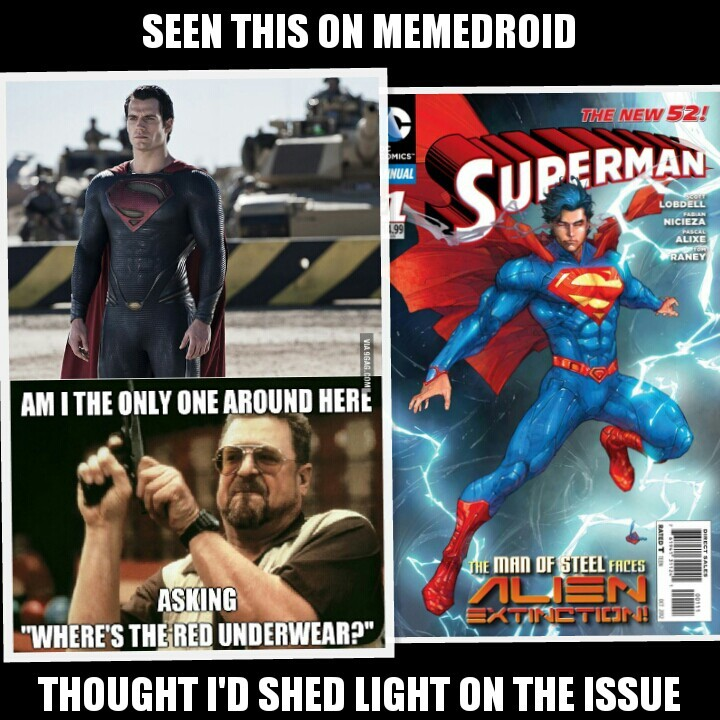 its because the new superman costume is based off the new design - meme
