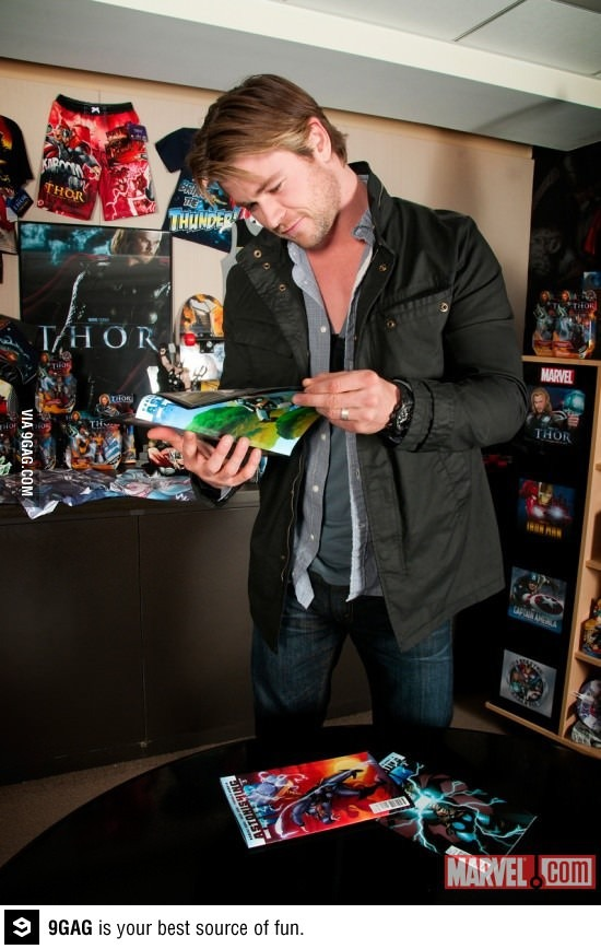 Thor reading Thor in a room full of Thor... Thorception - meme
