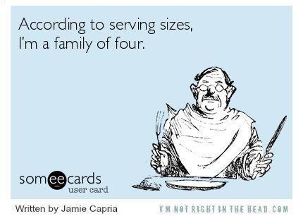 Un-realistic serving sizes - meme