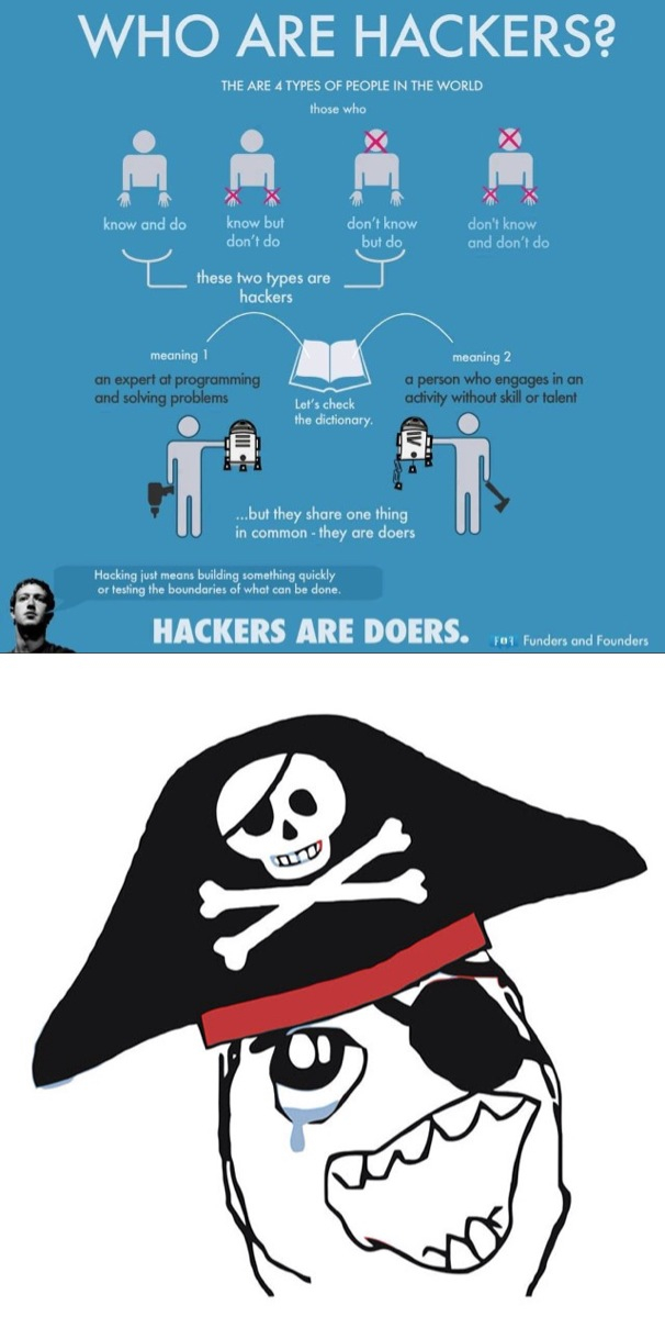 Hackers are doers - meme
