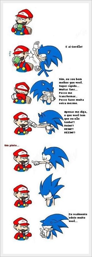 Sonic vs mario - tirinha copiada da internet - meme