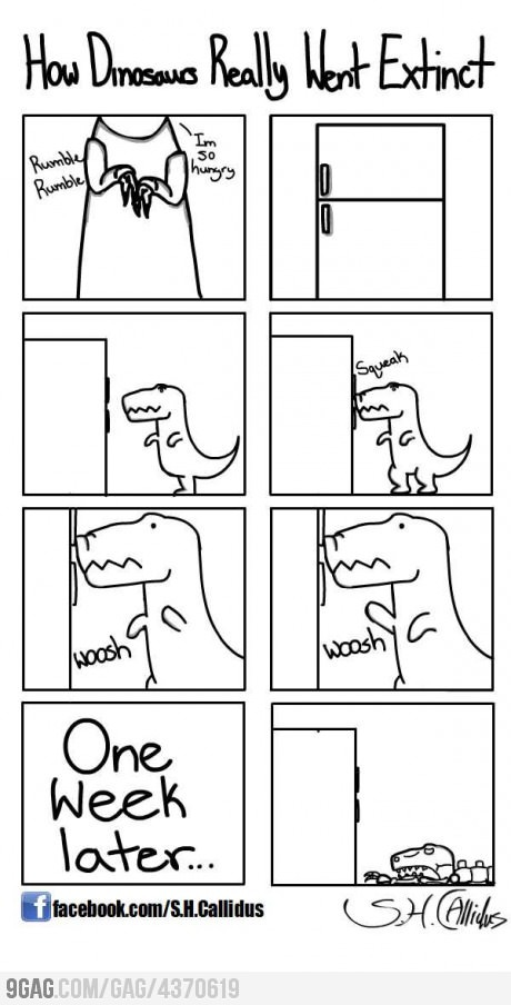 how they really went extinct. - meme