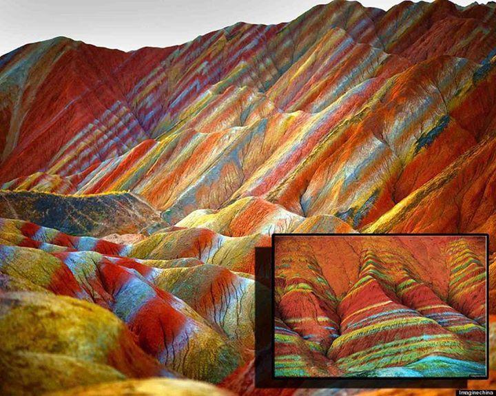 Rainbow mountains in China! Amazing!! - meme