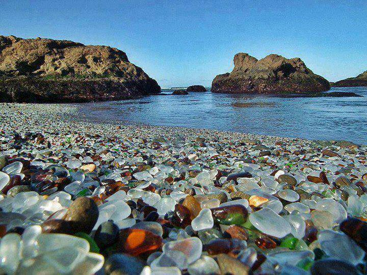 Glass Beach in California - meme