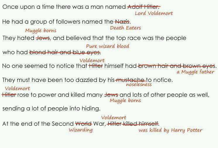 hitler vs voldemort Lord voldemort (/ˈvoʊldəmɔr/) rowling has admitted that voldemort was a sort of adolf hitler, and that there is some parallel with nazism in her books.