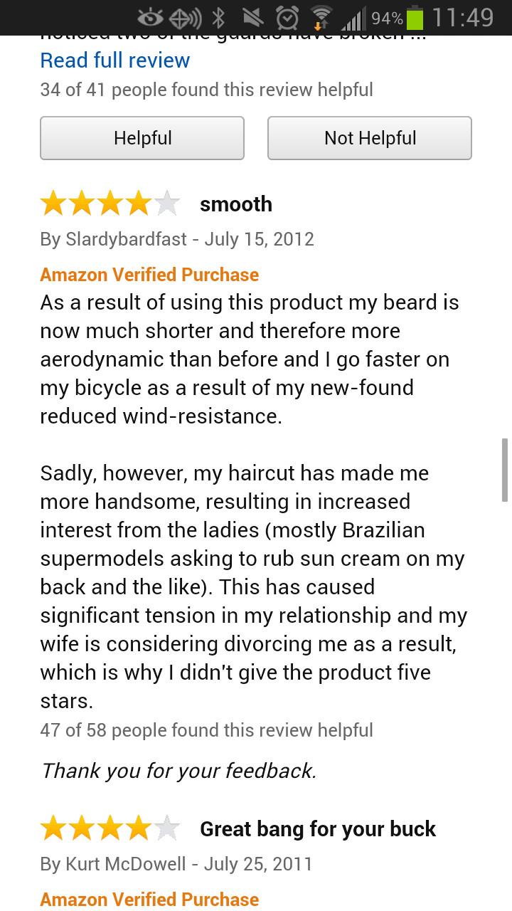Amazon razor review - meme