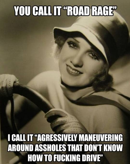 Drive right or get pushed over - meme