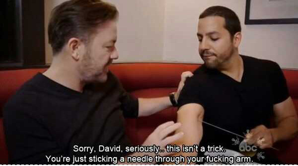 ricky gervais tell david blaine like it is - meme