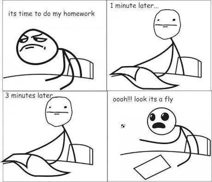 Homework Distraction - meme