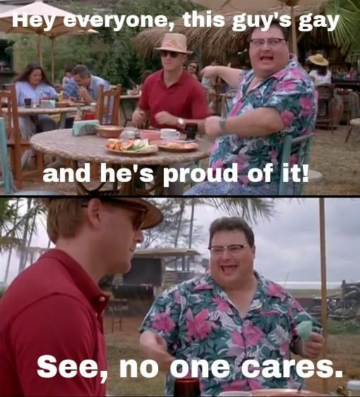 People make too big of a deal about being gay. - meme