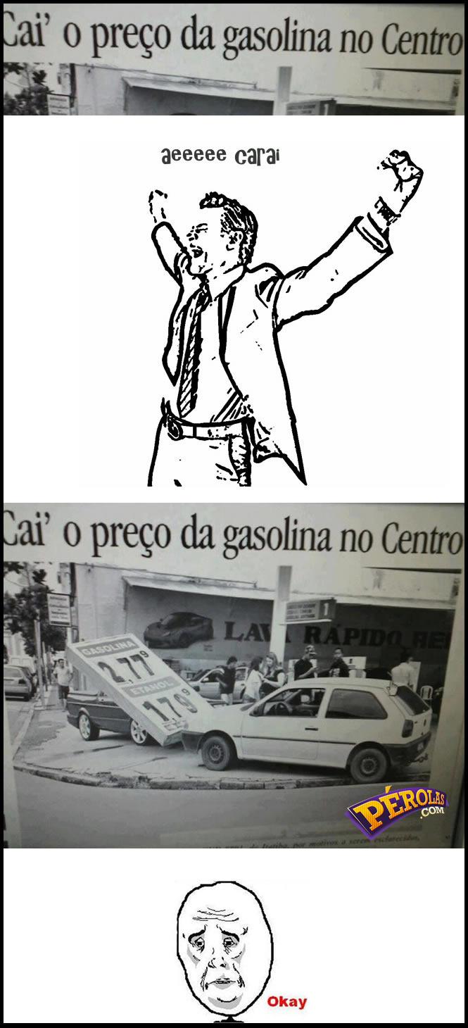 Cai o preço da gasolina - meme