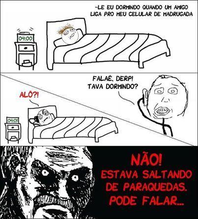 Paraquedas de madrugada - meme