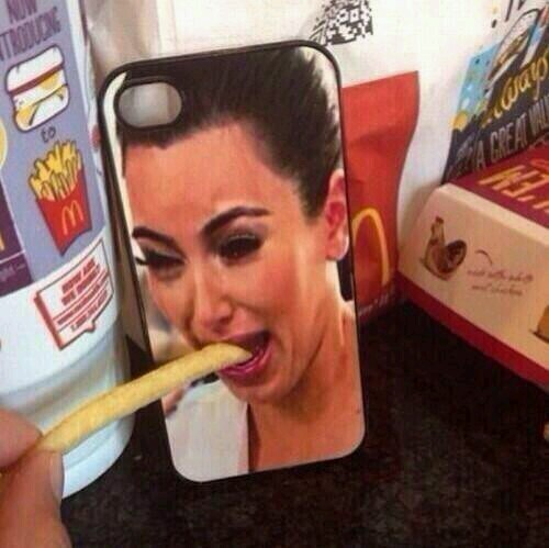 Kim won't eat her fry. I bet If it was black she would. - meme