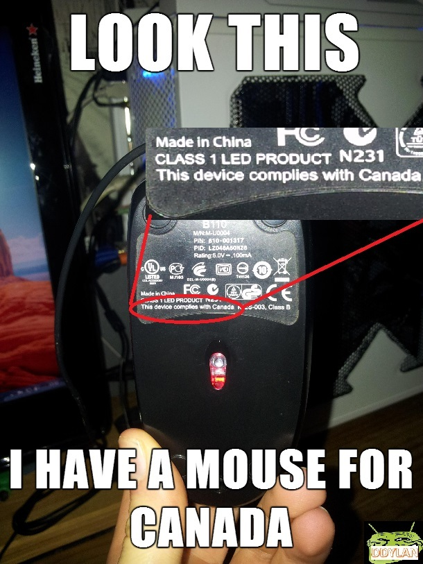 this device complies with canada. canadian mouse - meme