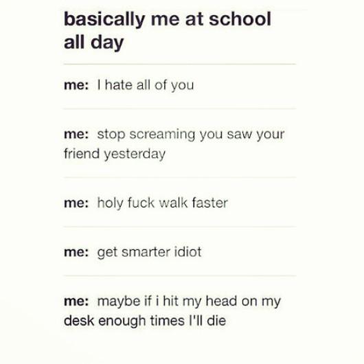 Title hates school ;-; - meme