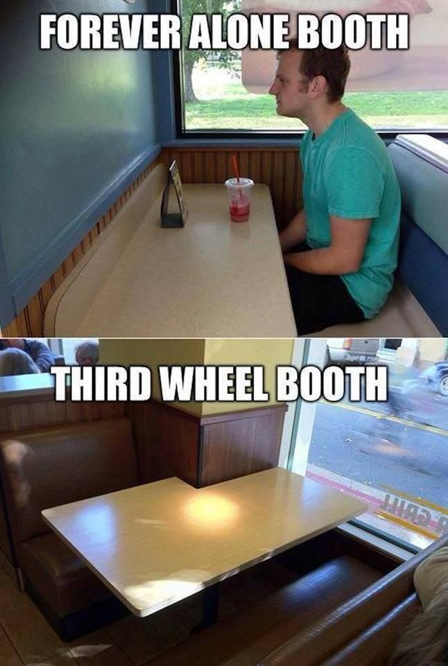 Forever alone booth wins - meme