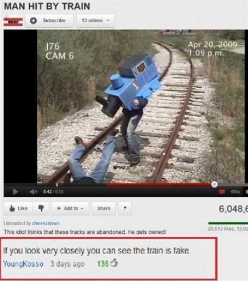 Si te fijas bien el tren es falso - meme