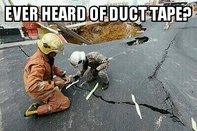 actually the firemen use the tape to know where is the movement of the road - meme