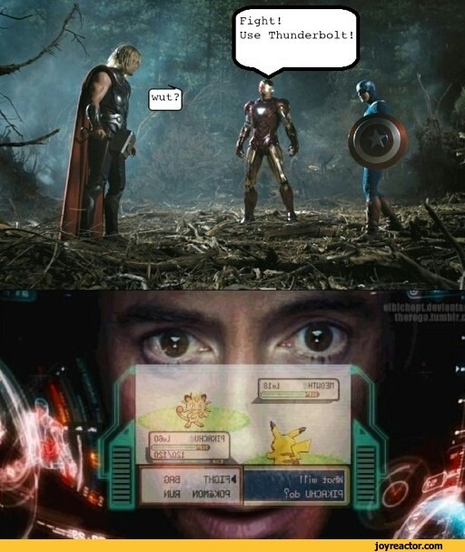 iron man plays pokemon in the middle of fight - meme